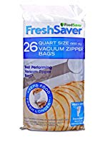 FoodSaver Reusable Zipper Top Precut Vacuum Sealer Bags, 1 Quart (26 Count)