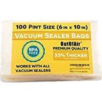 OutOfAir Precut Vacuum Sealer Bags, 1 Pint (100 Count)