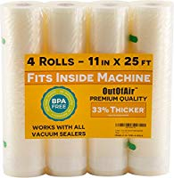 "OutOfAir 11""x25ft Vacuum Sealer Bag Roll (4 Rolls)"