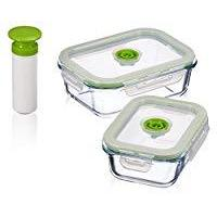 5 pc Glass Vacuum Seal Food Storage Container Set